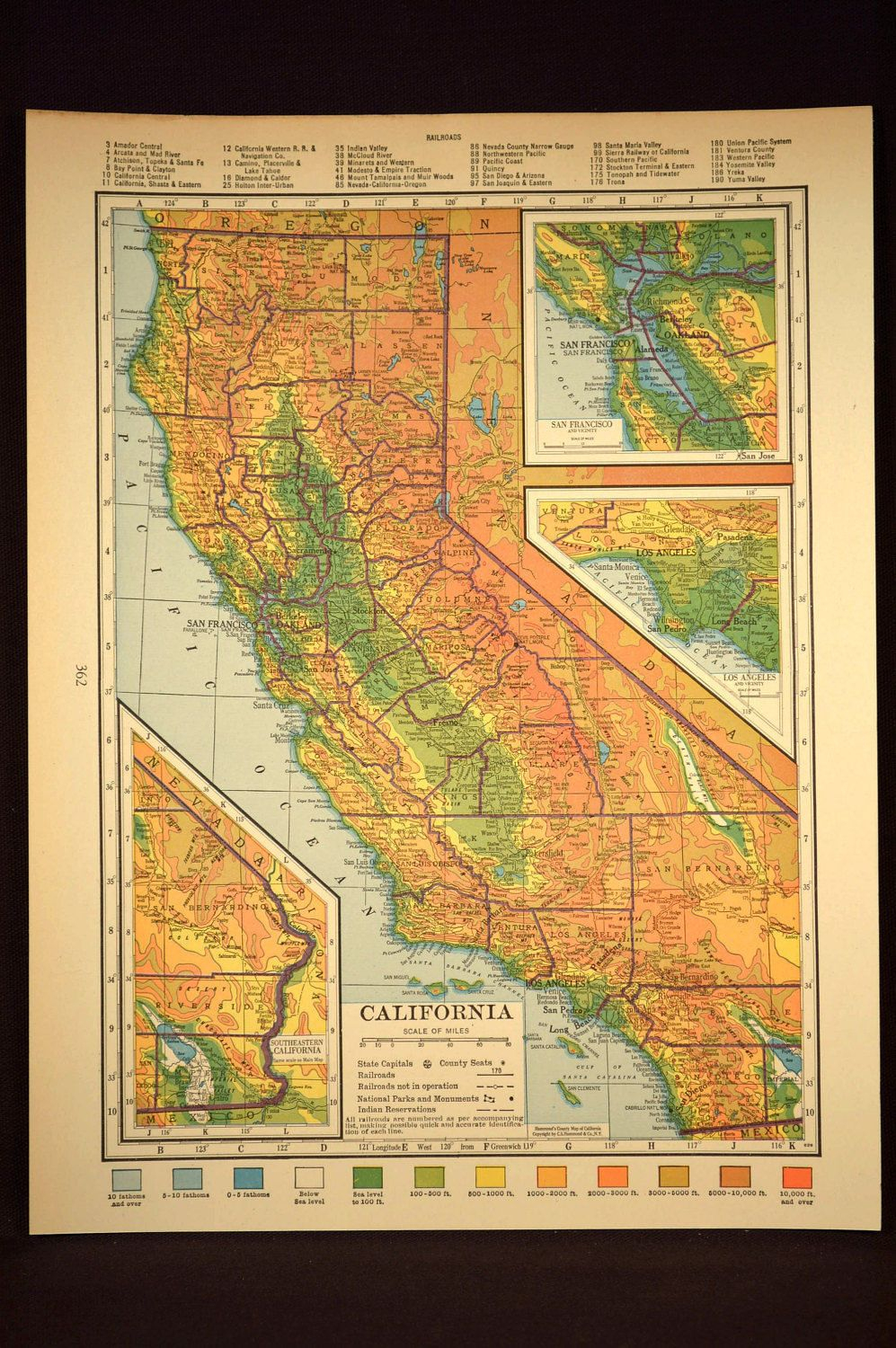 California Map California Topographic Map Colorful Colored | Map - California Map Wall Art