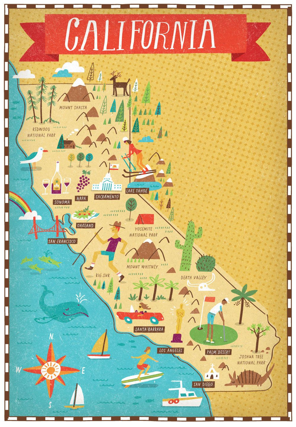 California Map | Litographie | Pinterest | Voyage, Carte Californie - California Destinations Map
