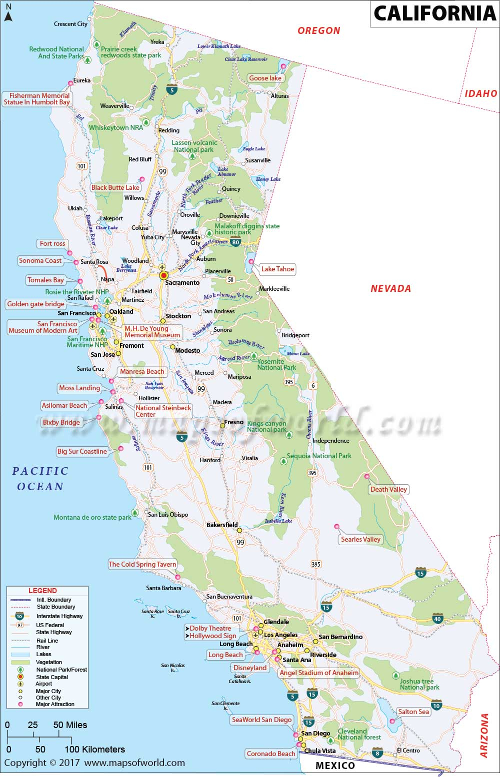 California Map | Map Of Ca, Us | Information And Facts Of California - Map Of Mid California