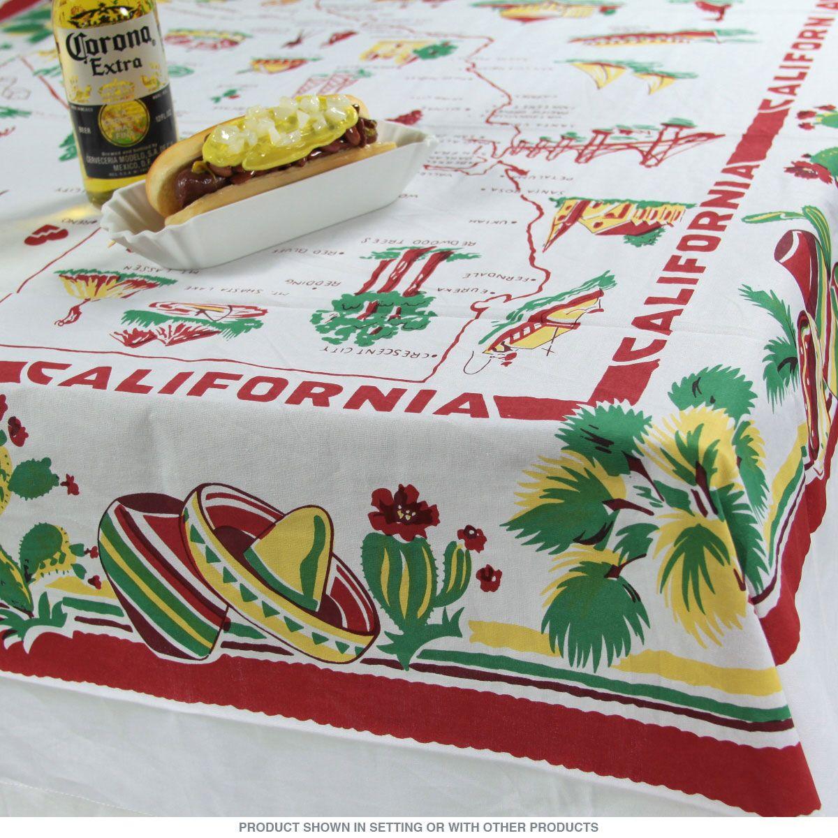 California Map Square Souvenir Tablecloth 52 X 52_D | Souvenir - Vintage California Map Tablecloth