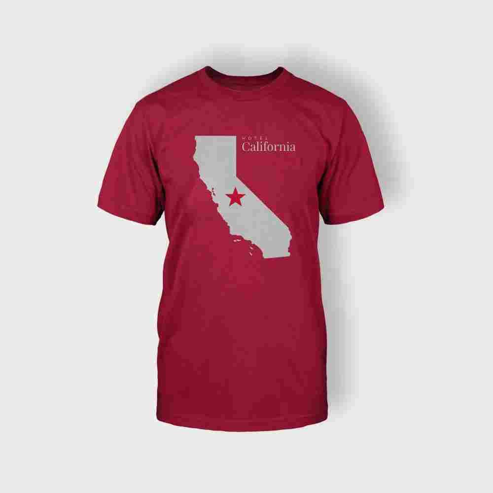 California Map T-Shirt (Red) - Coveral - California Map Shirt