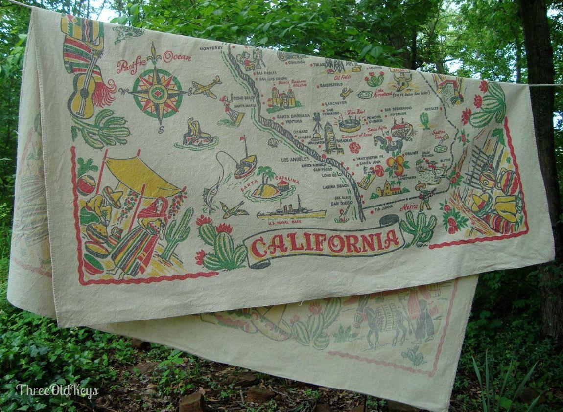 California Map Tablecloth 1950S Vintage Souvenir 4549 Inches - Vintage California Map Tablecloth