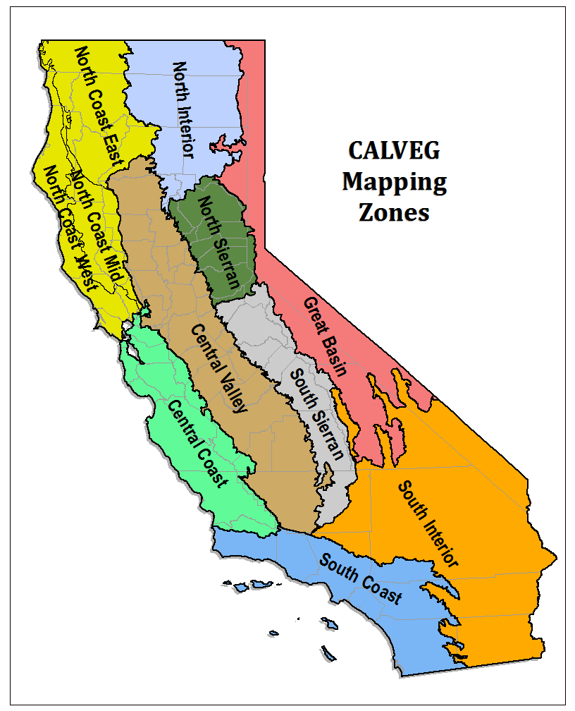 California Map With Calveg Zone Outlined And Labeled, Map Includes - Map Of Mid California
