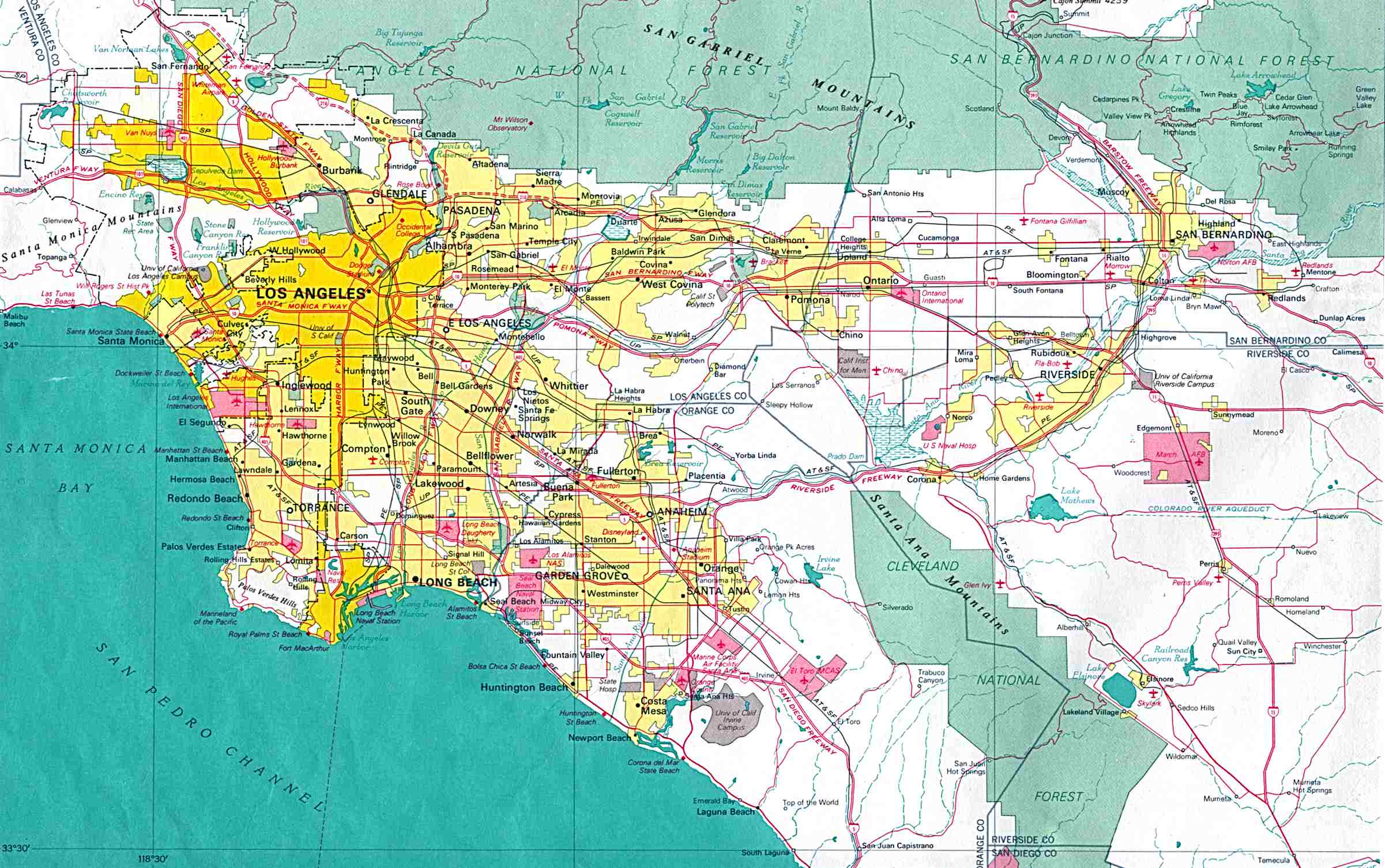 California Map With Cities A Map Of Los Angeles California - Klipy - Map Of Los Angeles California Area
