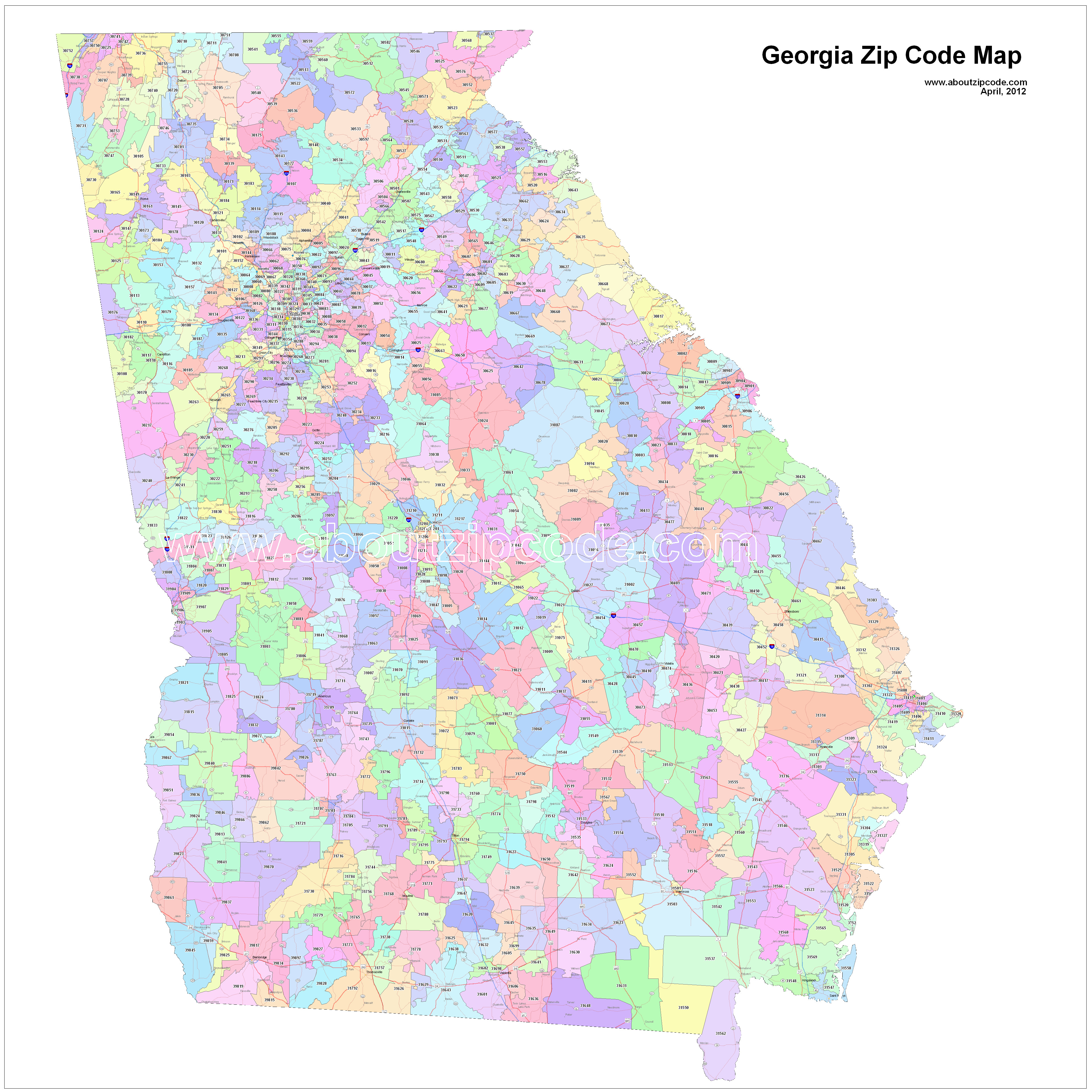California Map With Zip Codes Printable Georgia Zip Code Maps Free - Free Printable Zip Code Maps