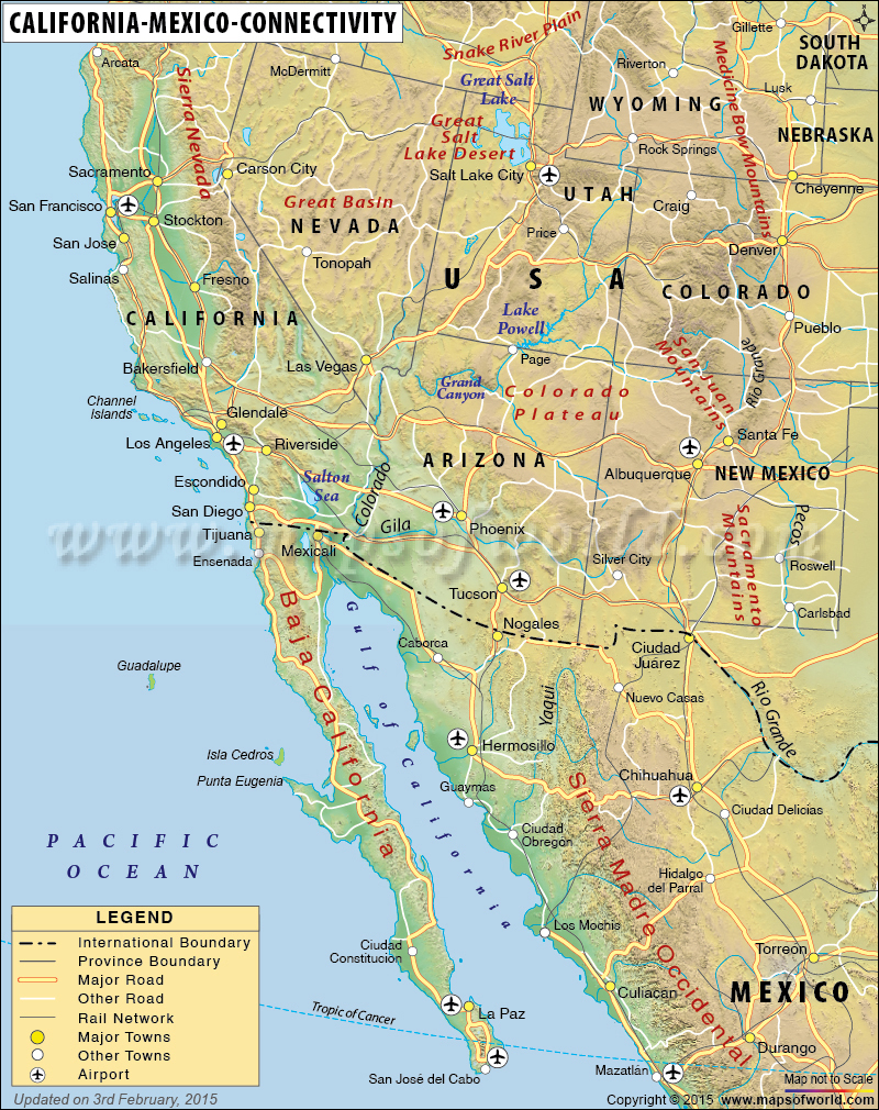 California Mexico Connectivity Map Google Maps California Map Of - Map Of Southern California And Northern Mexico