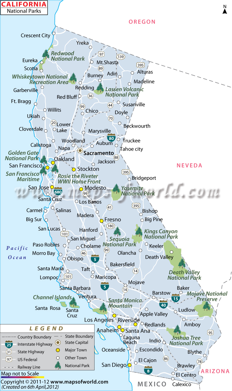 California National Parks Map, List Of National Parks In California - National And State Parks In California Map
