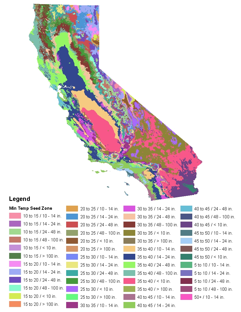 California Native Plant Provisional Seed Zones - Growing Zone Map California