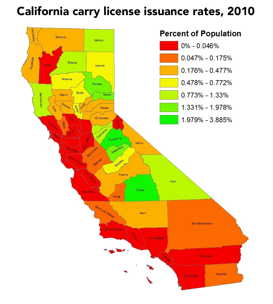 California Needs The Right To Carry—Now! – Doctors For Responsible - California Ccw Map