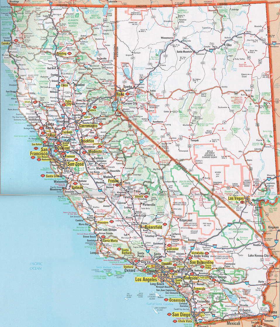 California Nevada California Map With Cities Road Map Of California - Road Map Of California And Nevada