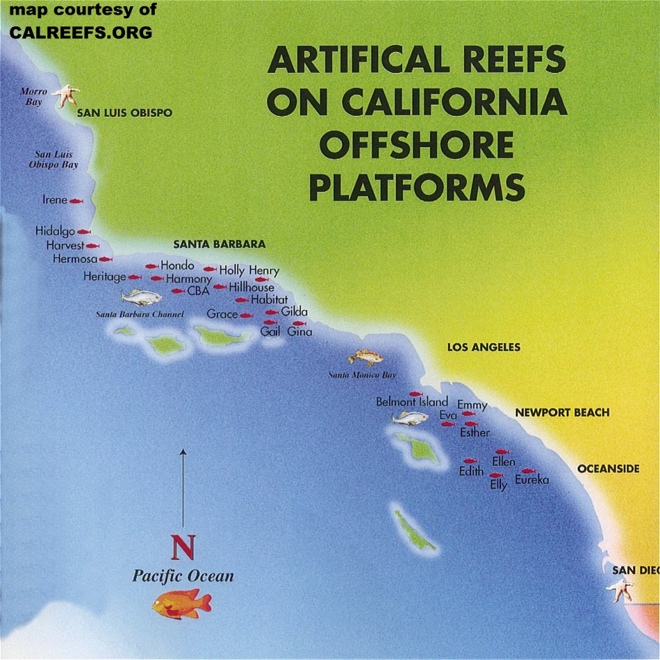 California Offshore Oil Rig Map - California Ocean Fishing Map