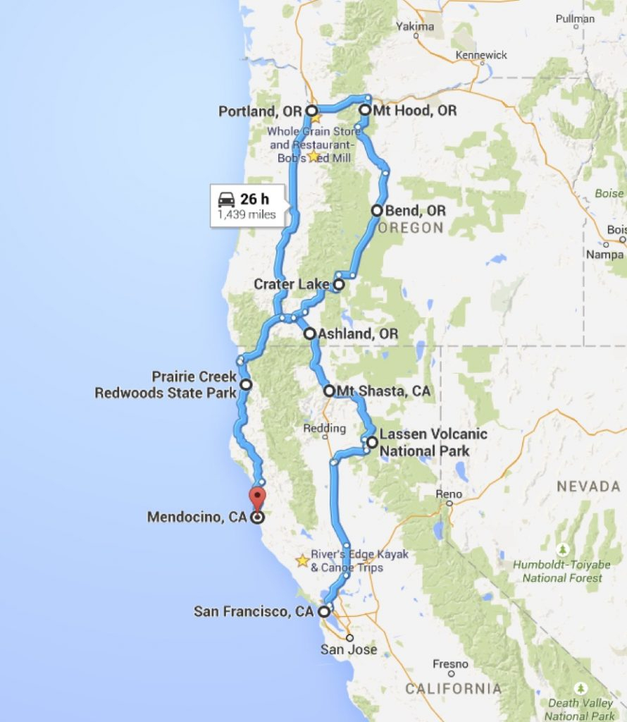 California Oregon Road Trip Pl Google Maps California California - California Road Trip Trip Planner Map