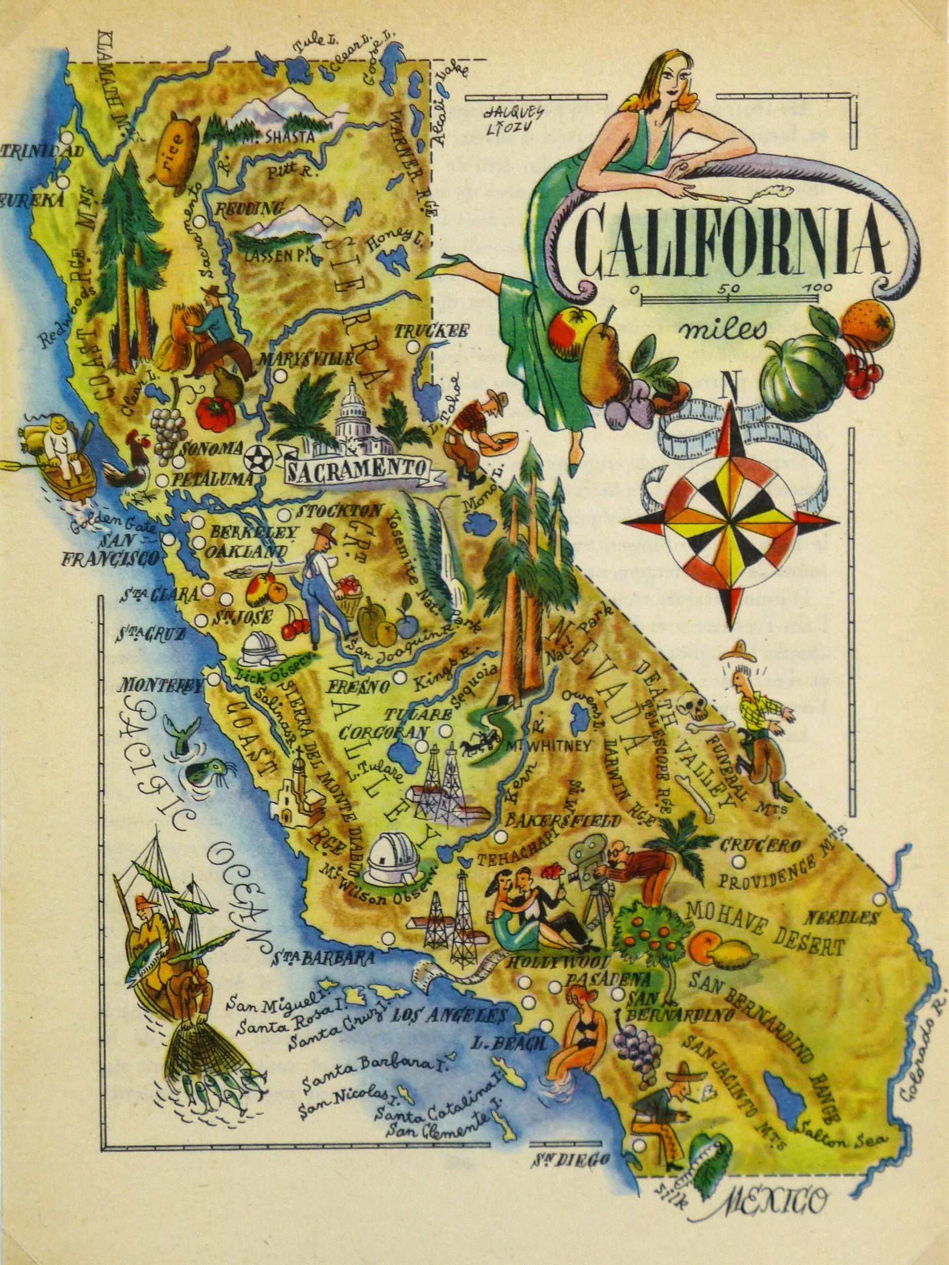 California Pictorial Map, 1946 - Antique Map Of California