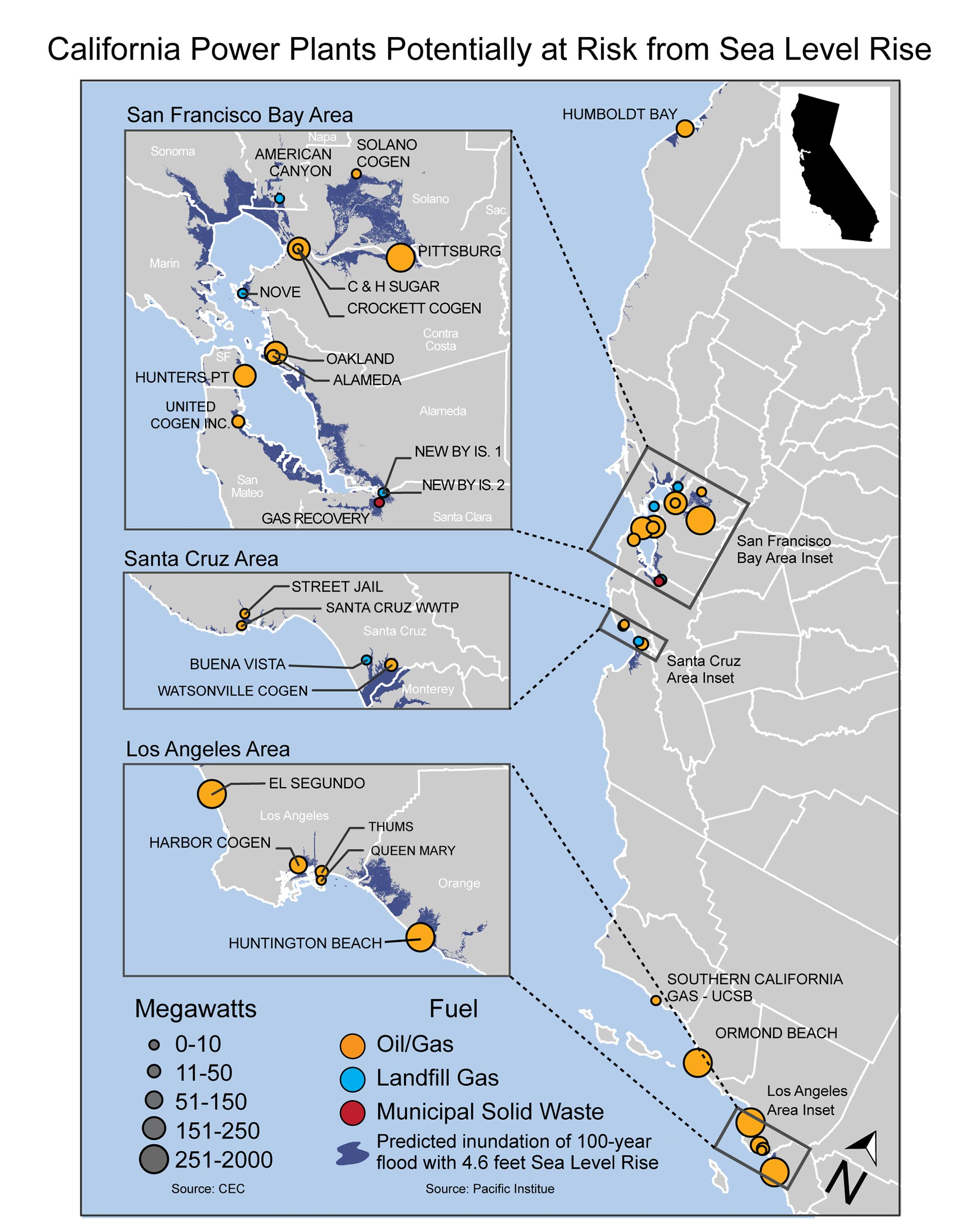 California Power Plants Potentially At Risk From Sea Level Rise - California Sea Level Map