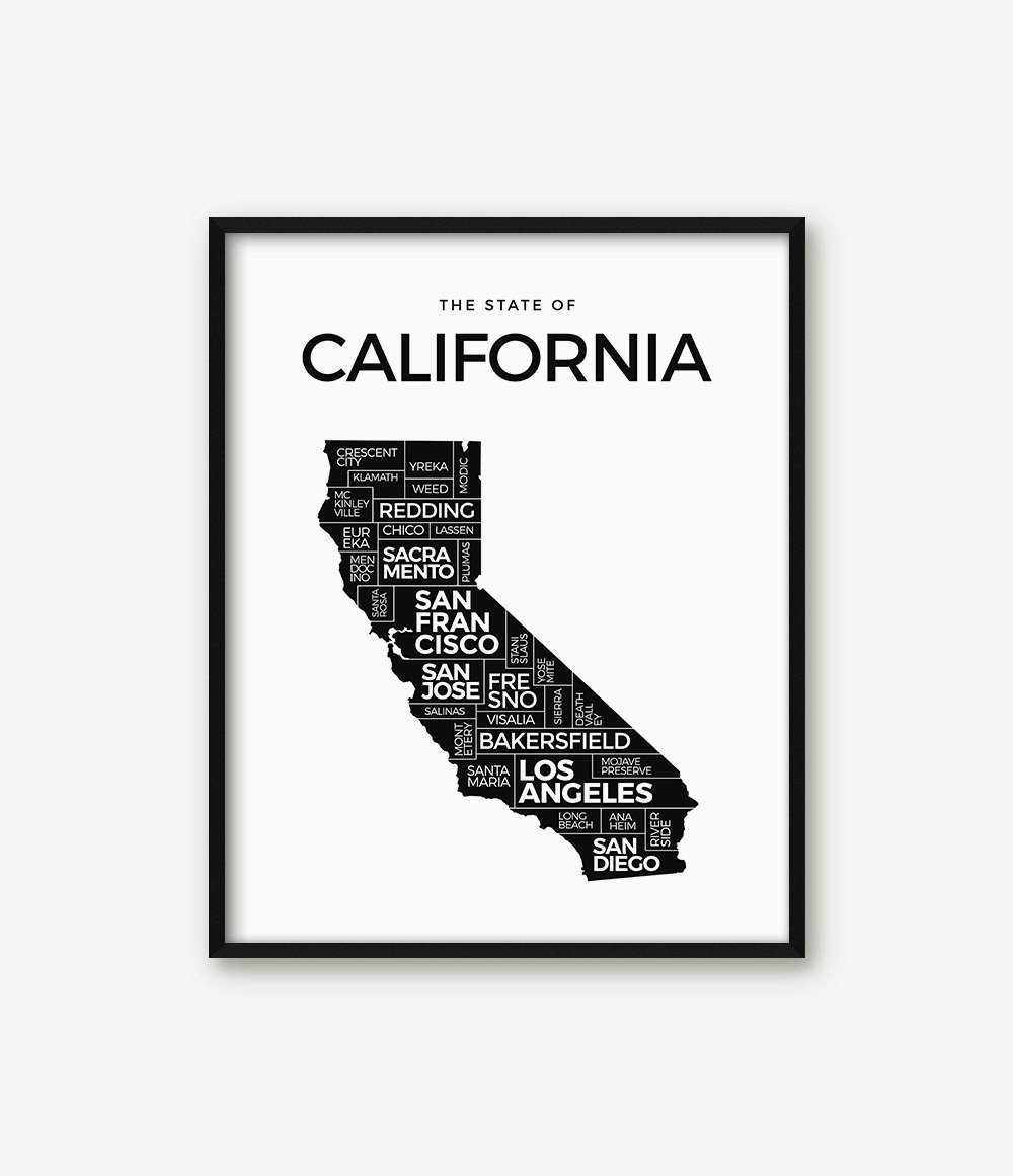 California Print California Map Print California Poster | Etsy - California Map Poster