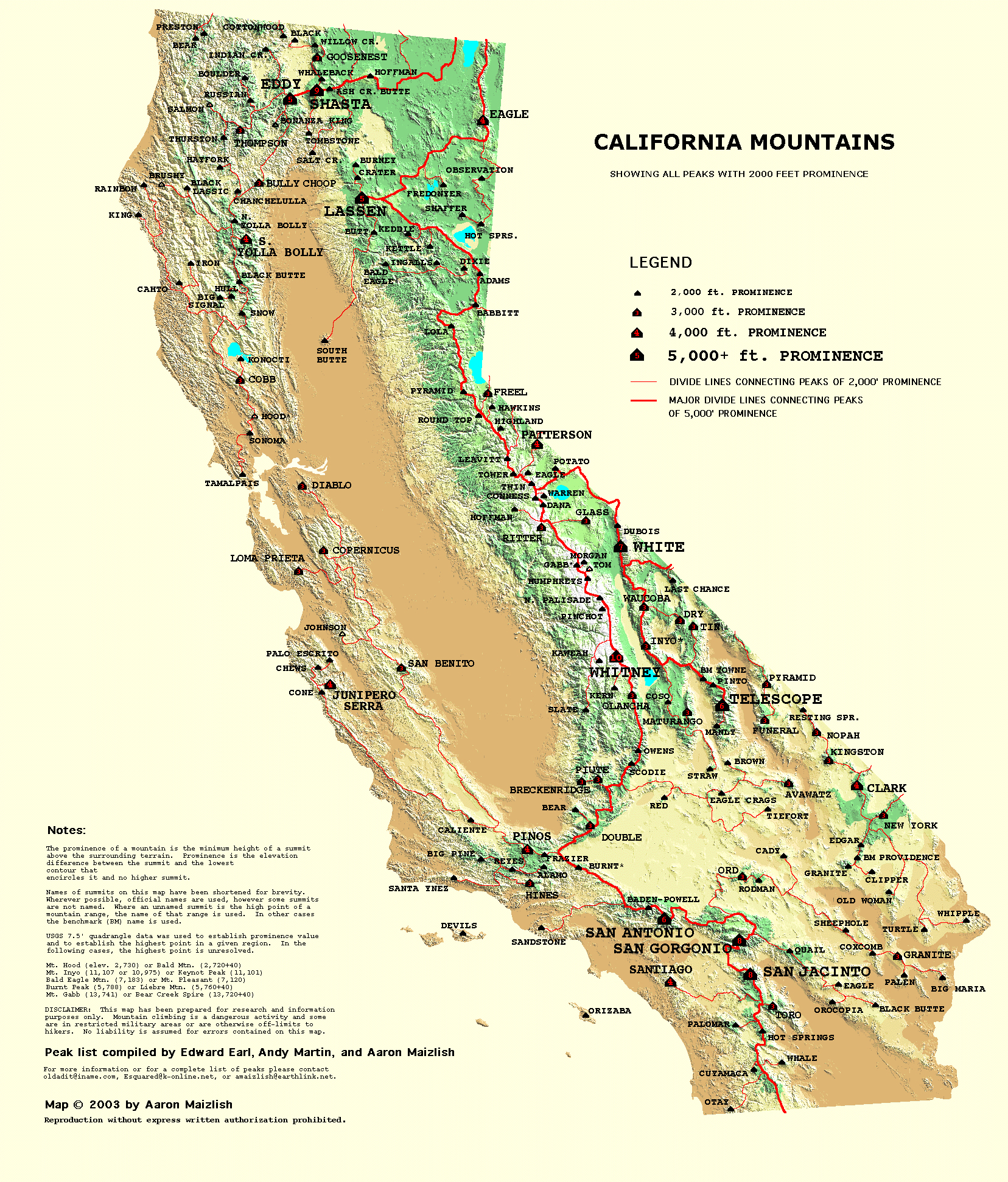 California Prominence Map Blank Map California Desert Region Map - California Desert Map