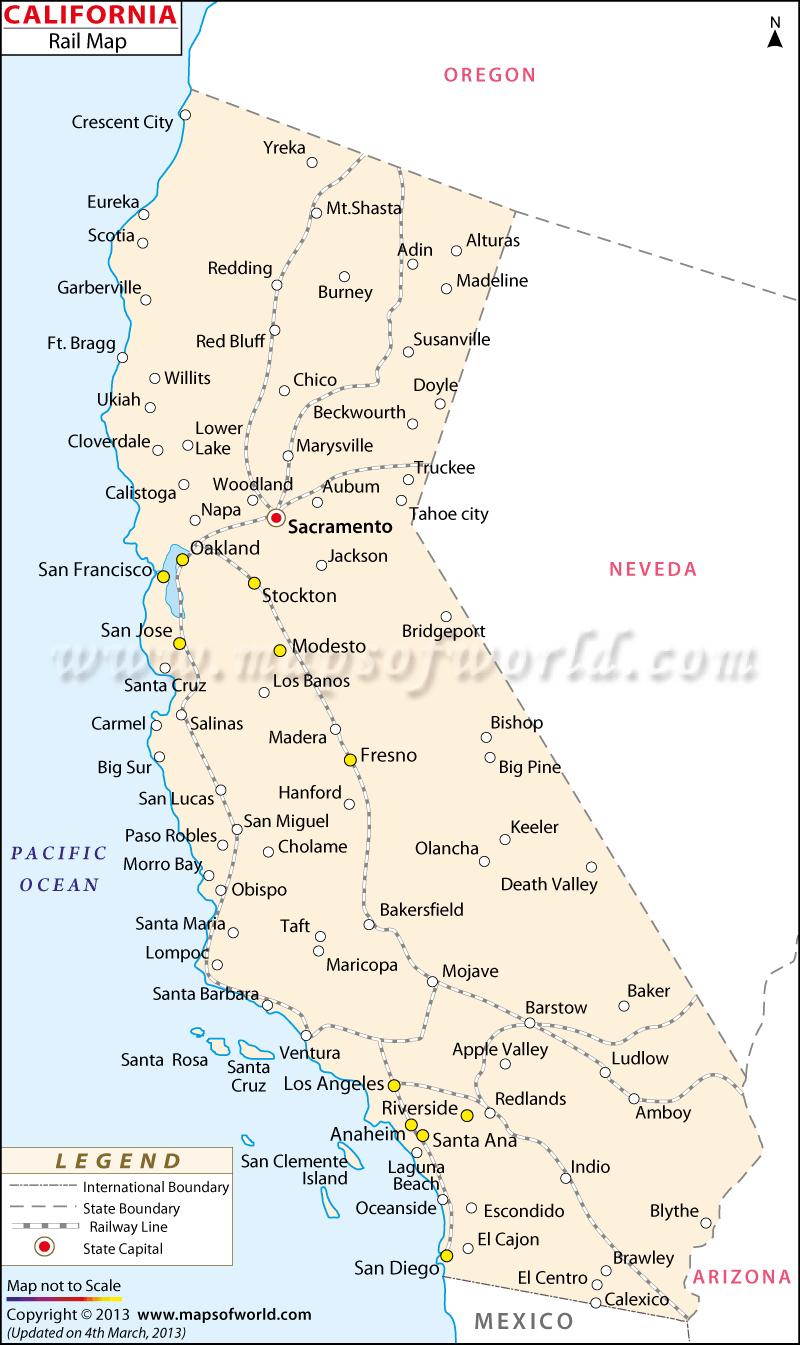 California Railway Map H California State Map Southern California - California Train Map