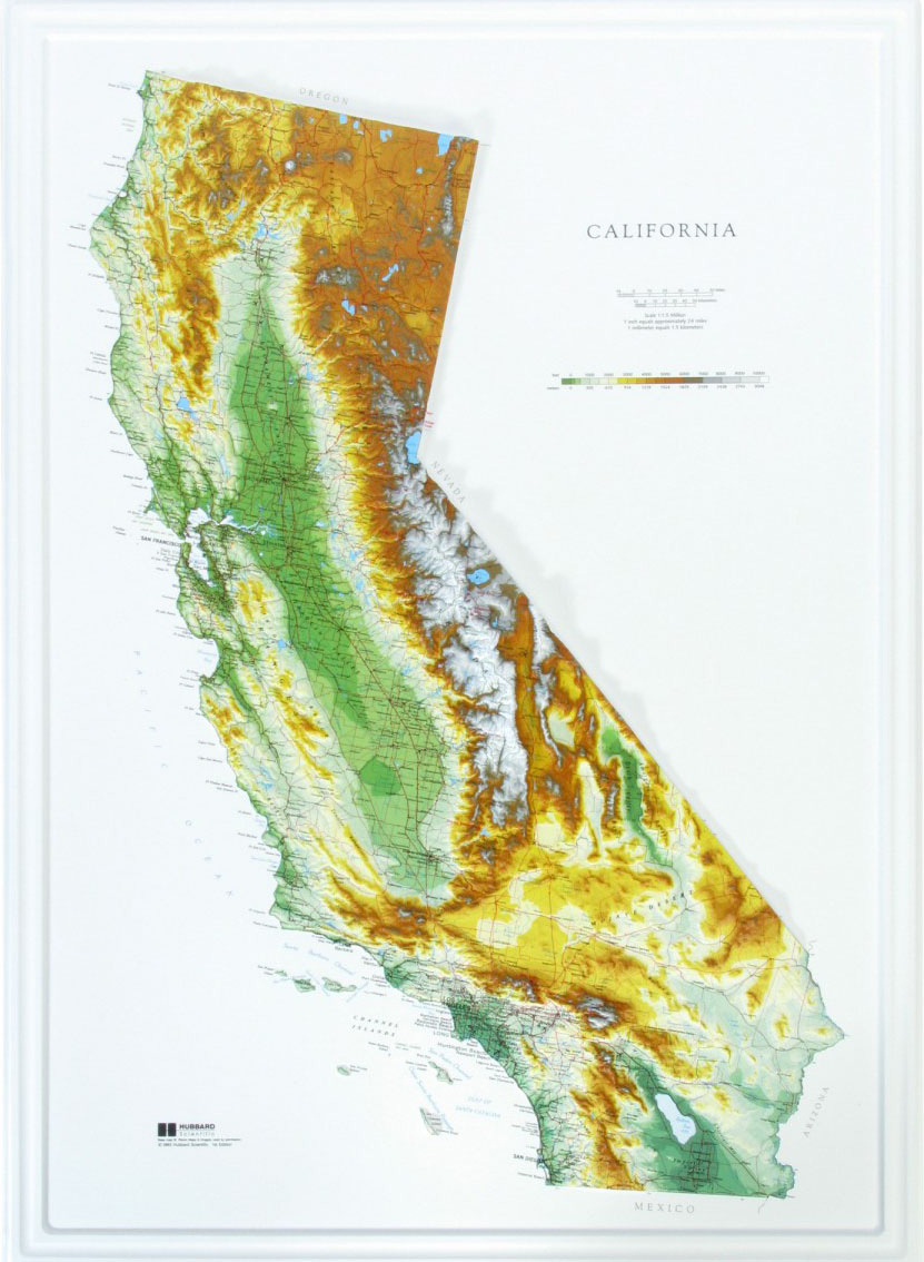California Raised Relief Map - The Map Shop - California Raised Relief Map