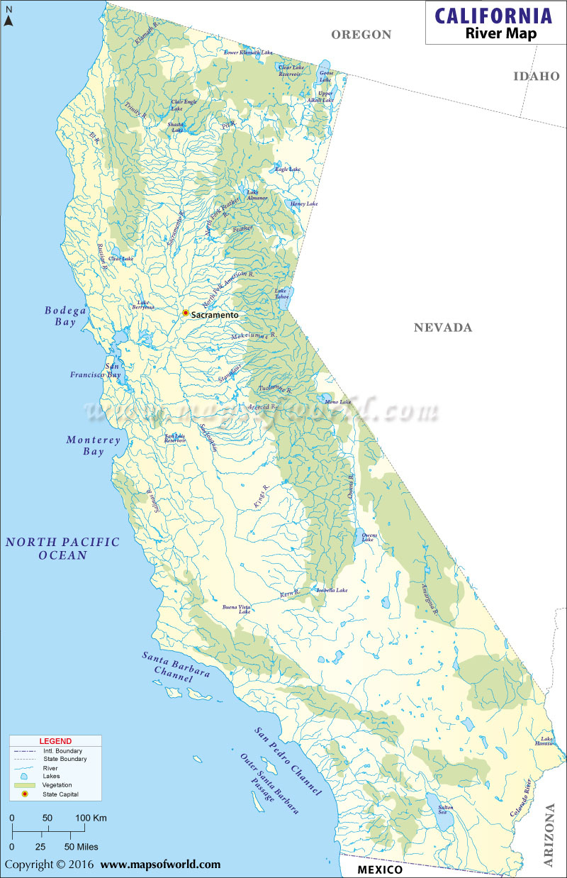 California River Map California Northern California Lakes Map - Lakes In California Map