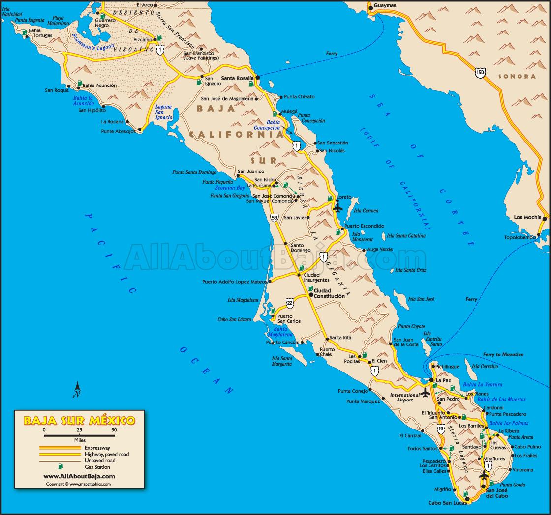 California Road Map Baja California Peninsula Map Map California - Baja California Road Map