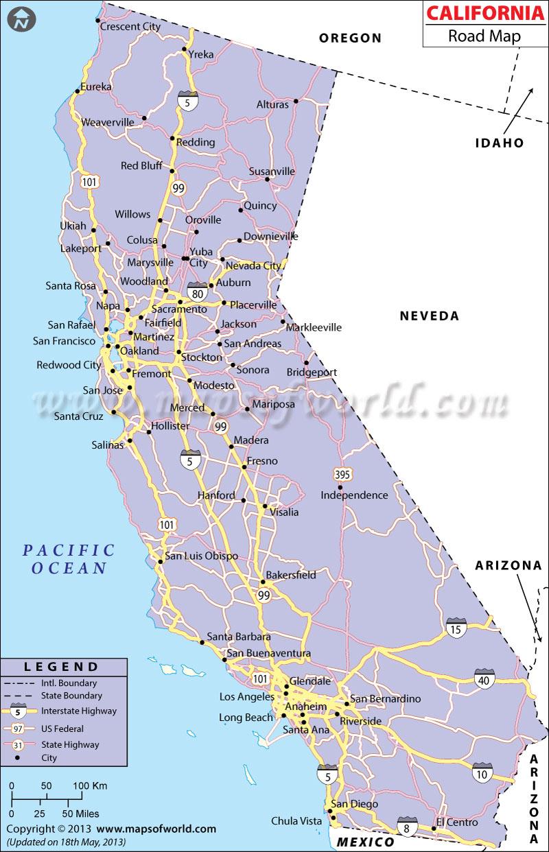 California Road Map, California Highway Map - Bishop California Map