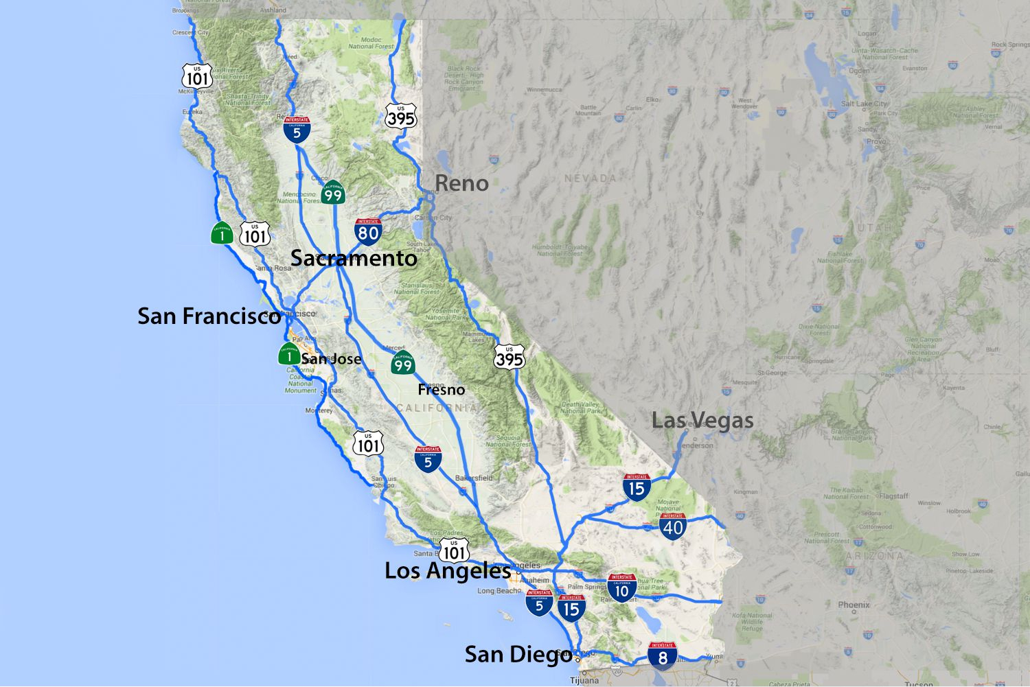 California Road Map - Highways And Major Routes - Map Of California Highways And Freeways