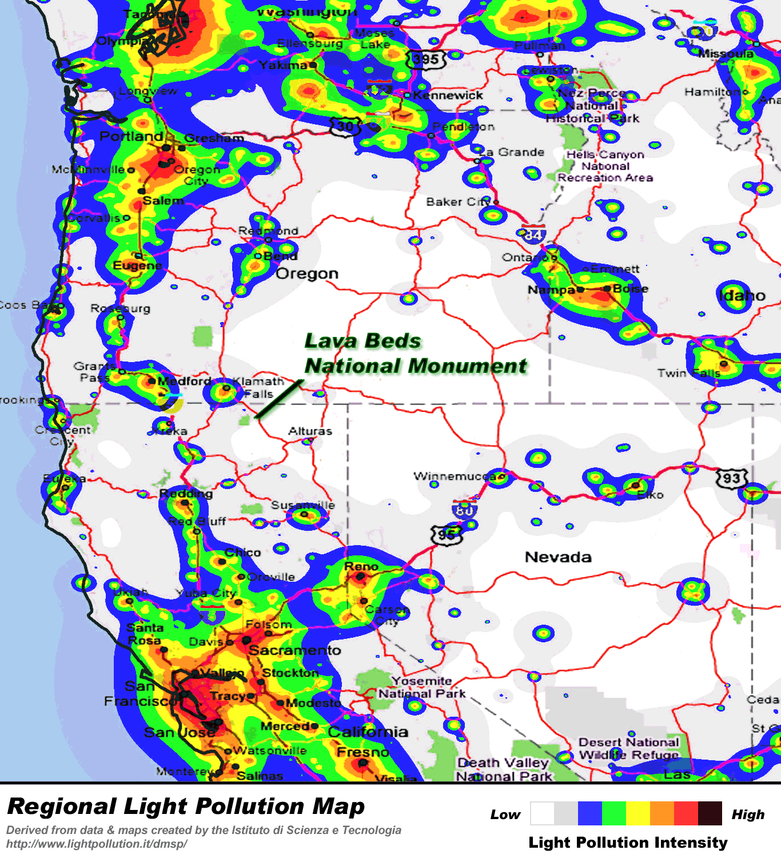 California Road Map Light Pollution Map California California Road - Dark Sky Map California