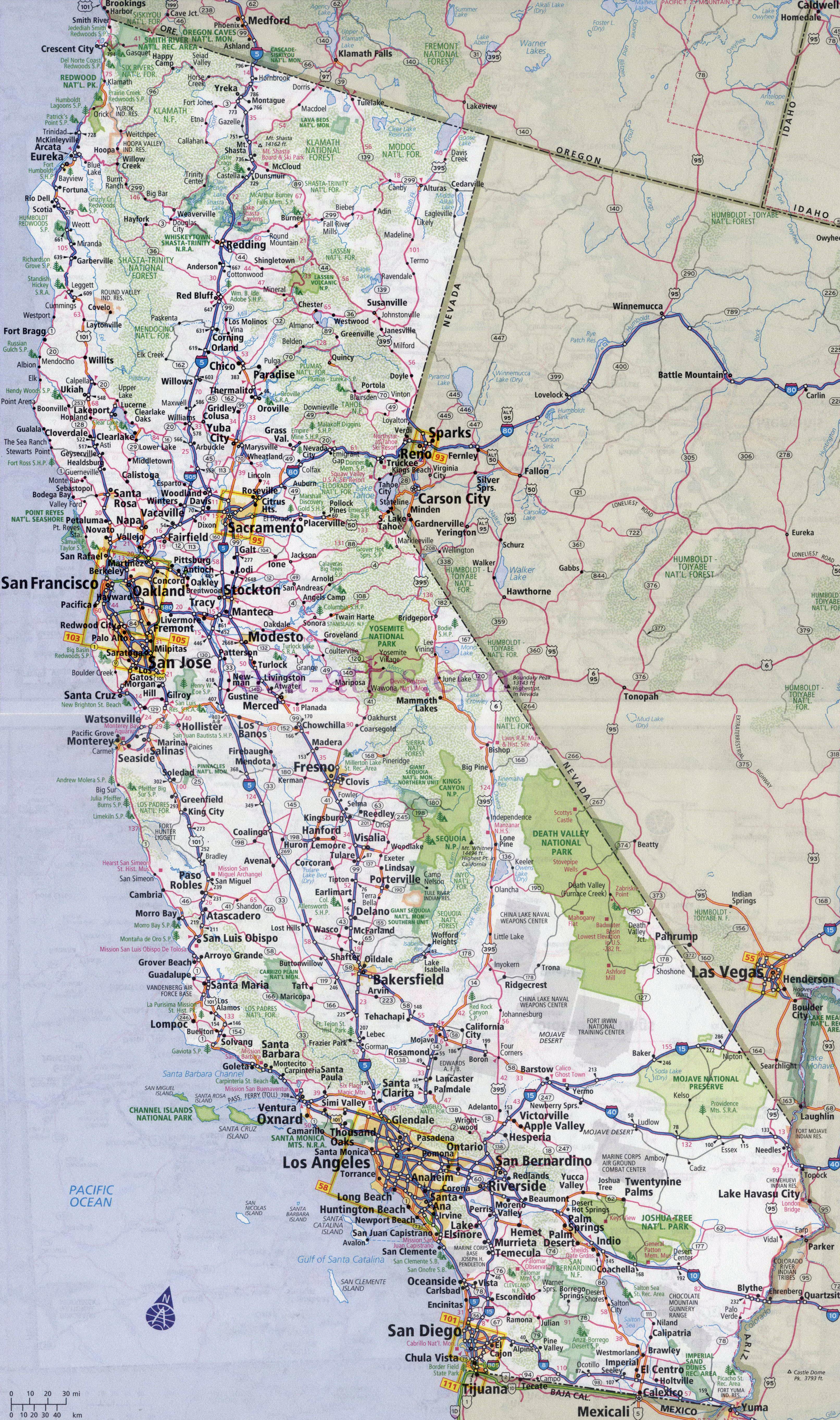 California Road Map Of State - Klipy - California Road Map Free