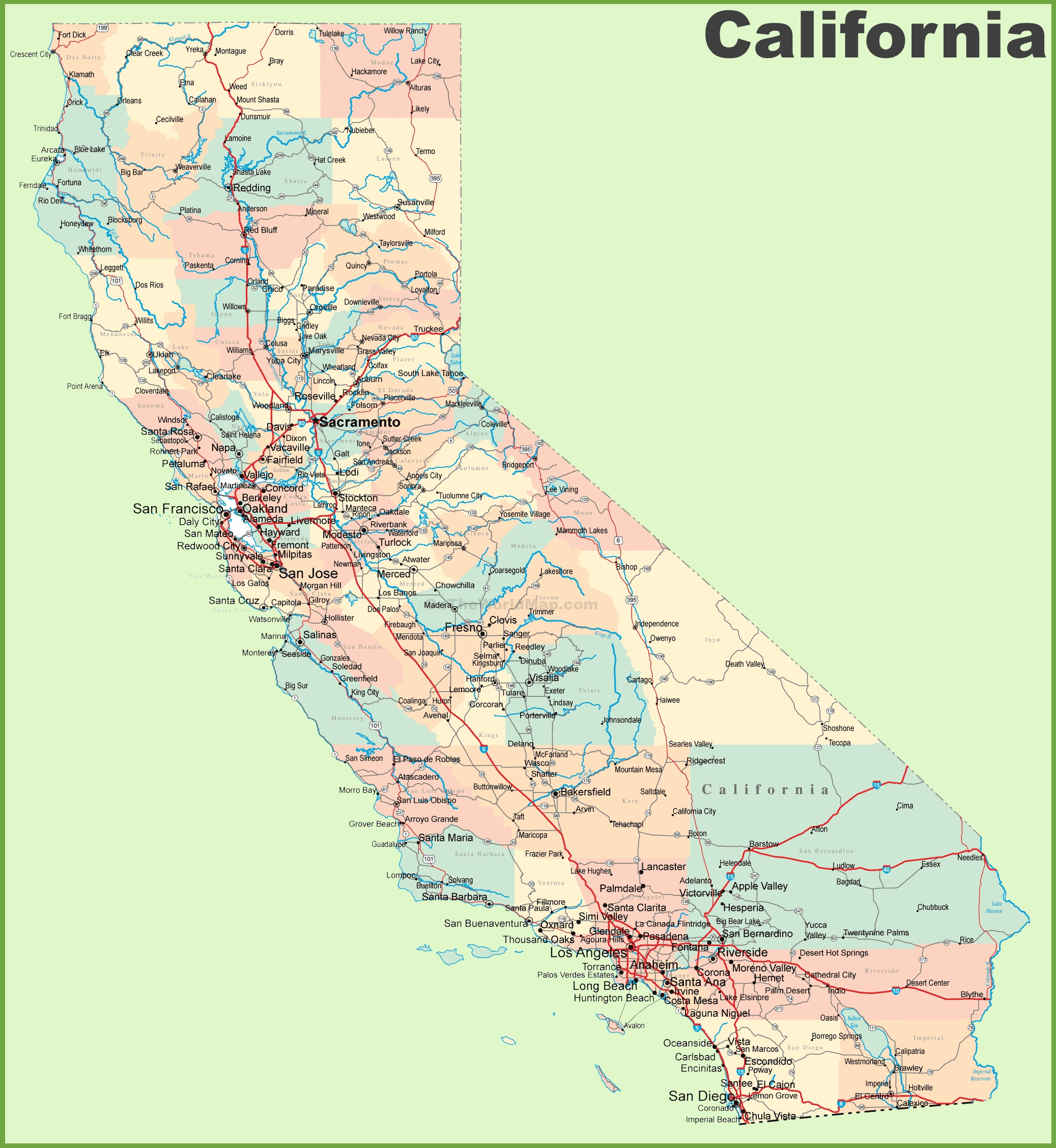 California Road Map Outline Map With Northern California County Map - Online Map Of California