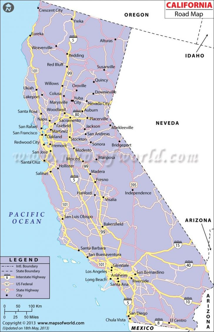 Printable Road Map Of California