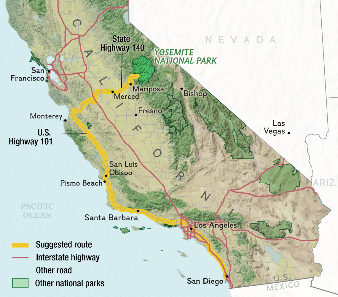 California Road Trip: San Diego To Yosemite - Yosemite National Park California Map