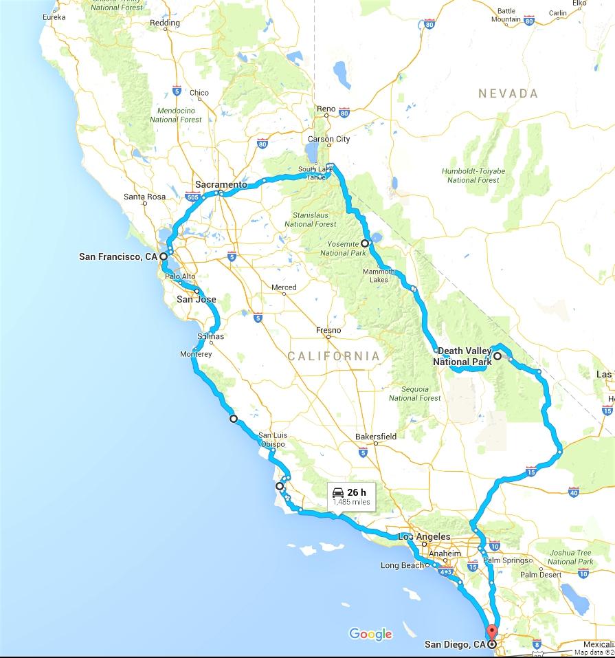 California Road Trip Trip Planner Map - Klipy - California Road Trip Map