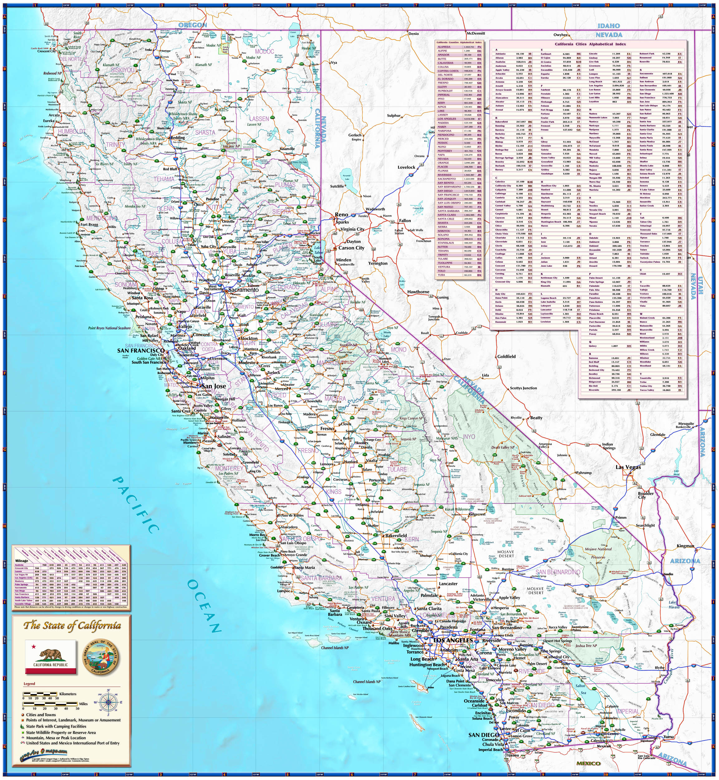 California Roadways State Reference Map From Compart - Laminated California Map