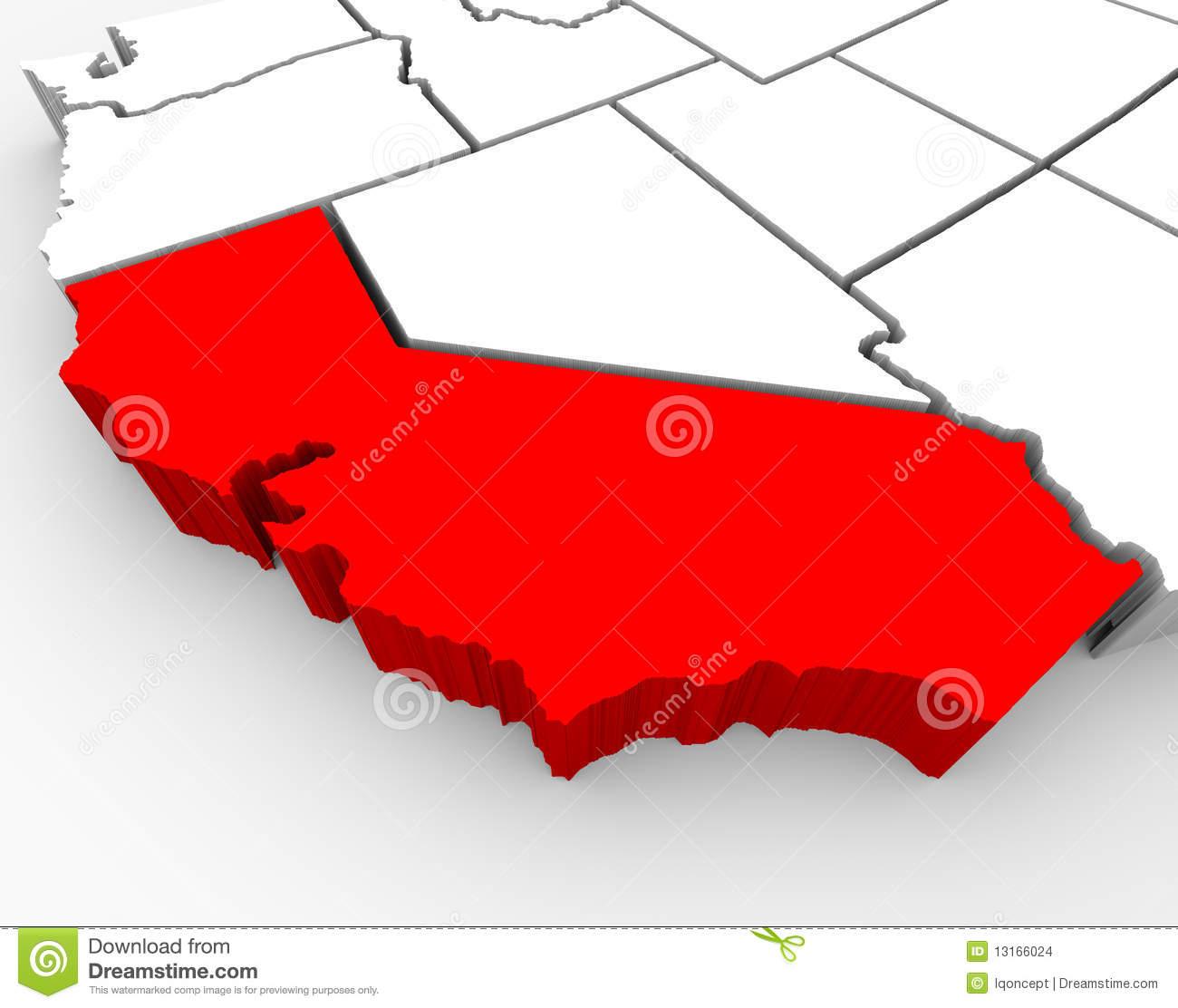 California Sate Map - 3D Illustration Stock Illustration - 3D Map Of California