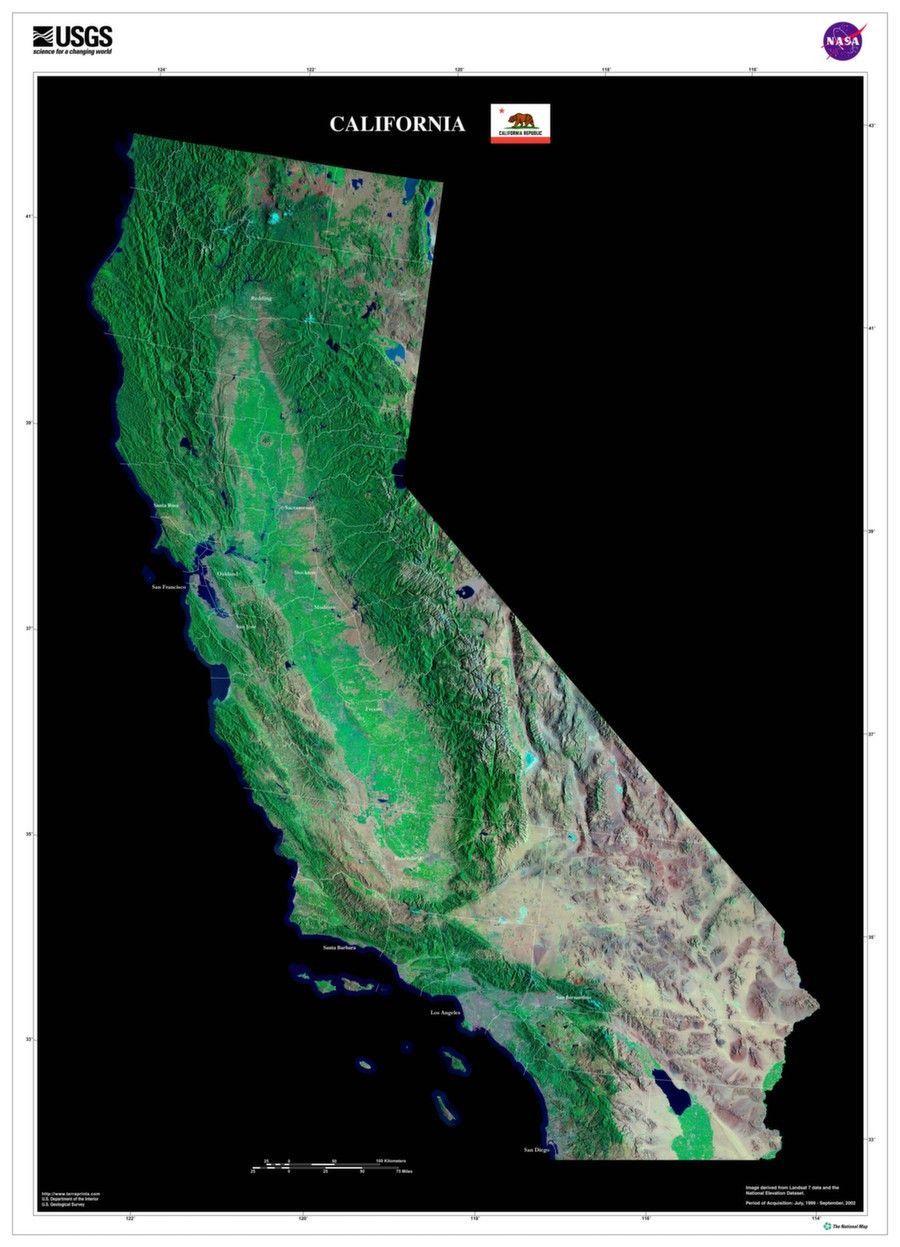 California Satellite Poster Map | Cartography | Pinterest - California Map Satellite