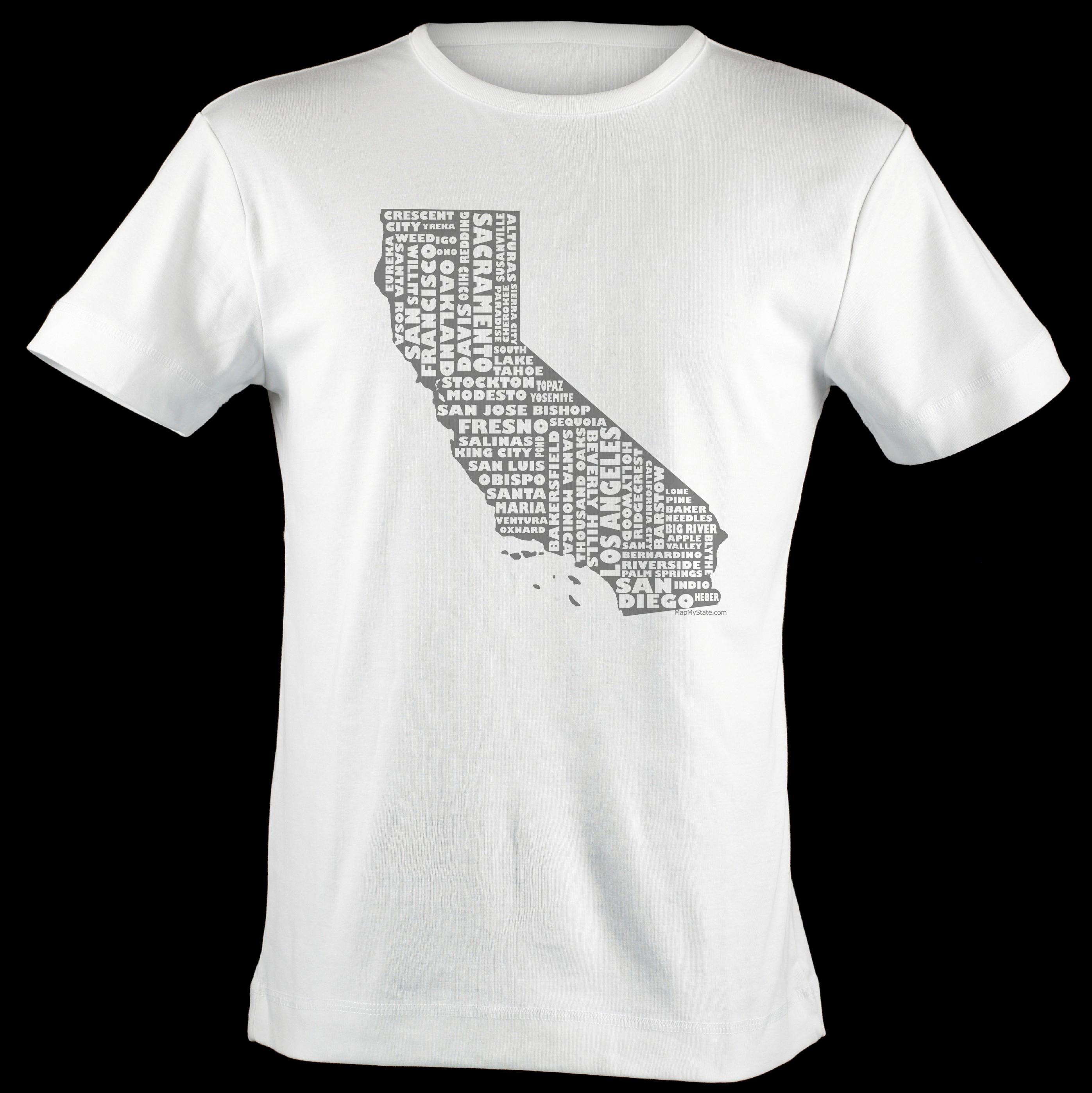 California Shirt Map Art | California Typography Map T-Shirt - California Map T Shirt
