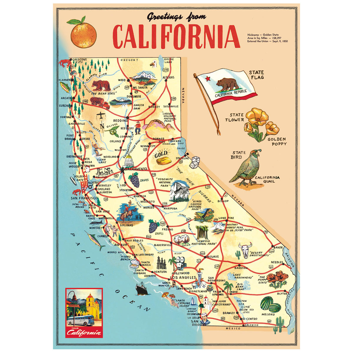 California Sightseeing Map Vintage Style Poster At Retro Planet - California Tourist Attractions Map