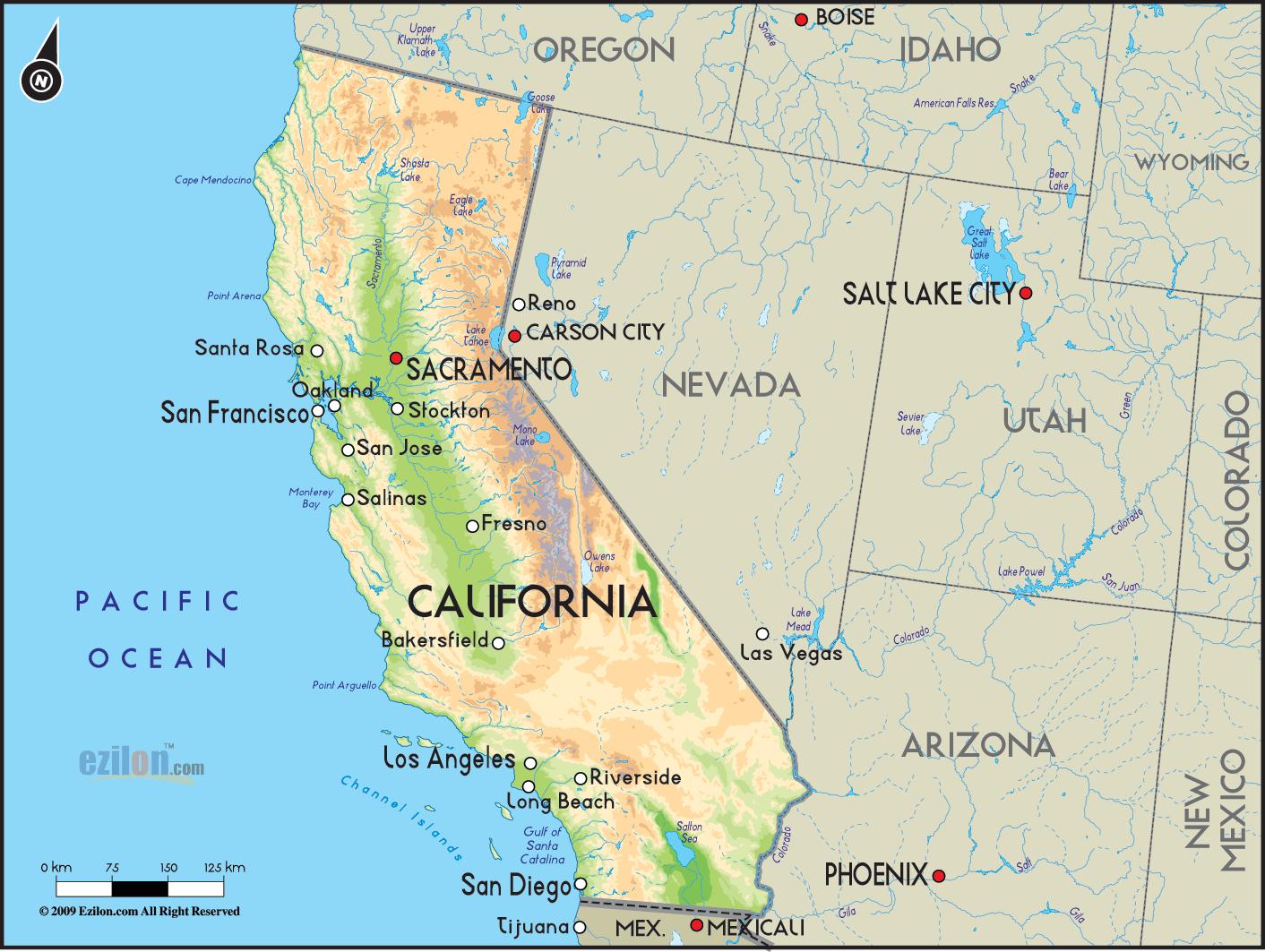 California Simple Map Of California Springs Map Of California And - Map Of Las Vegas And California
