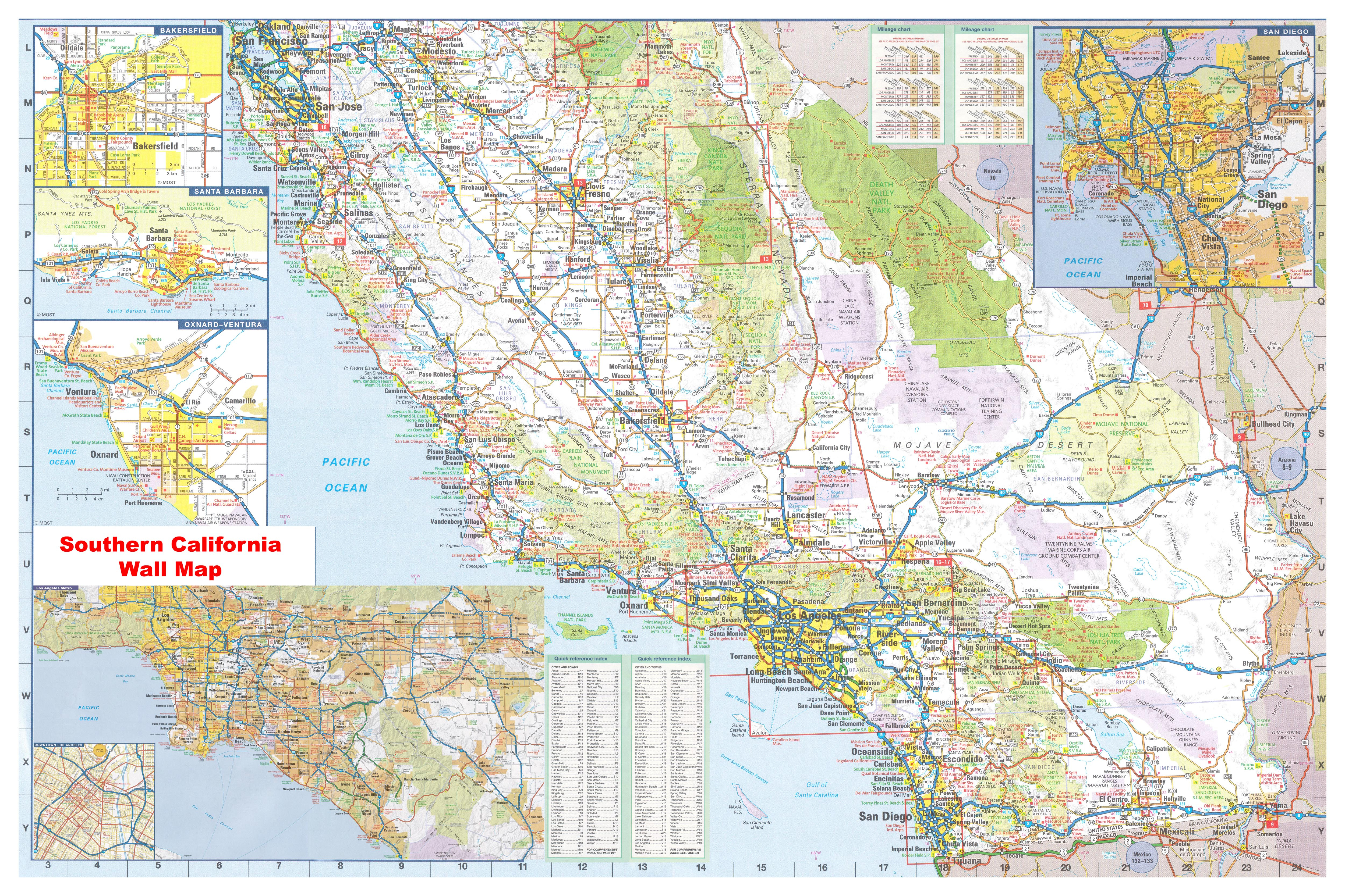 California Southern Wall Map Executive Commercial Edition - Laminated California Wall Map