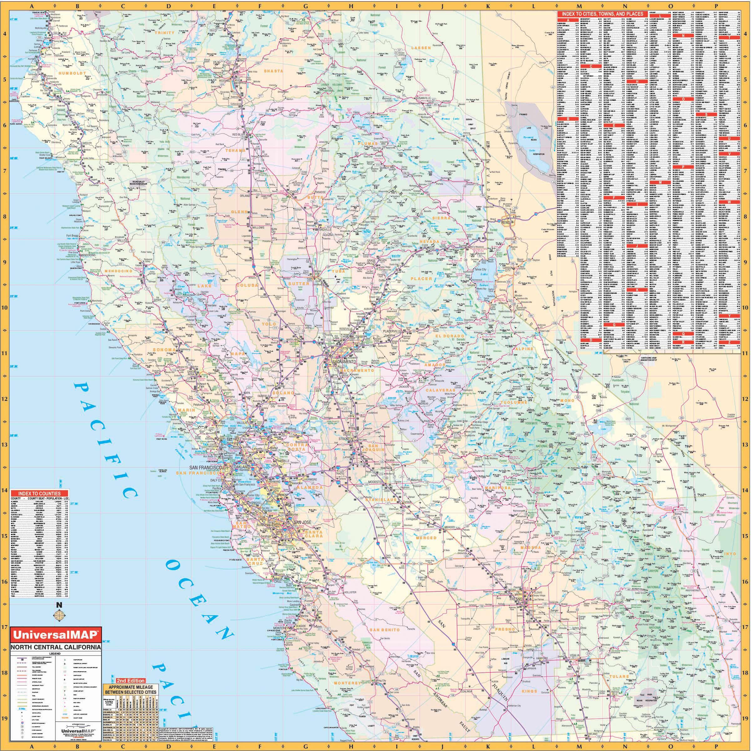 California State North Central Wall Map – Kappa Map Group - California Wall Map