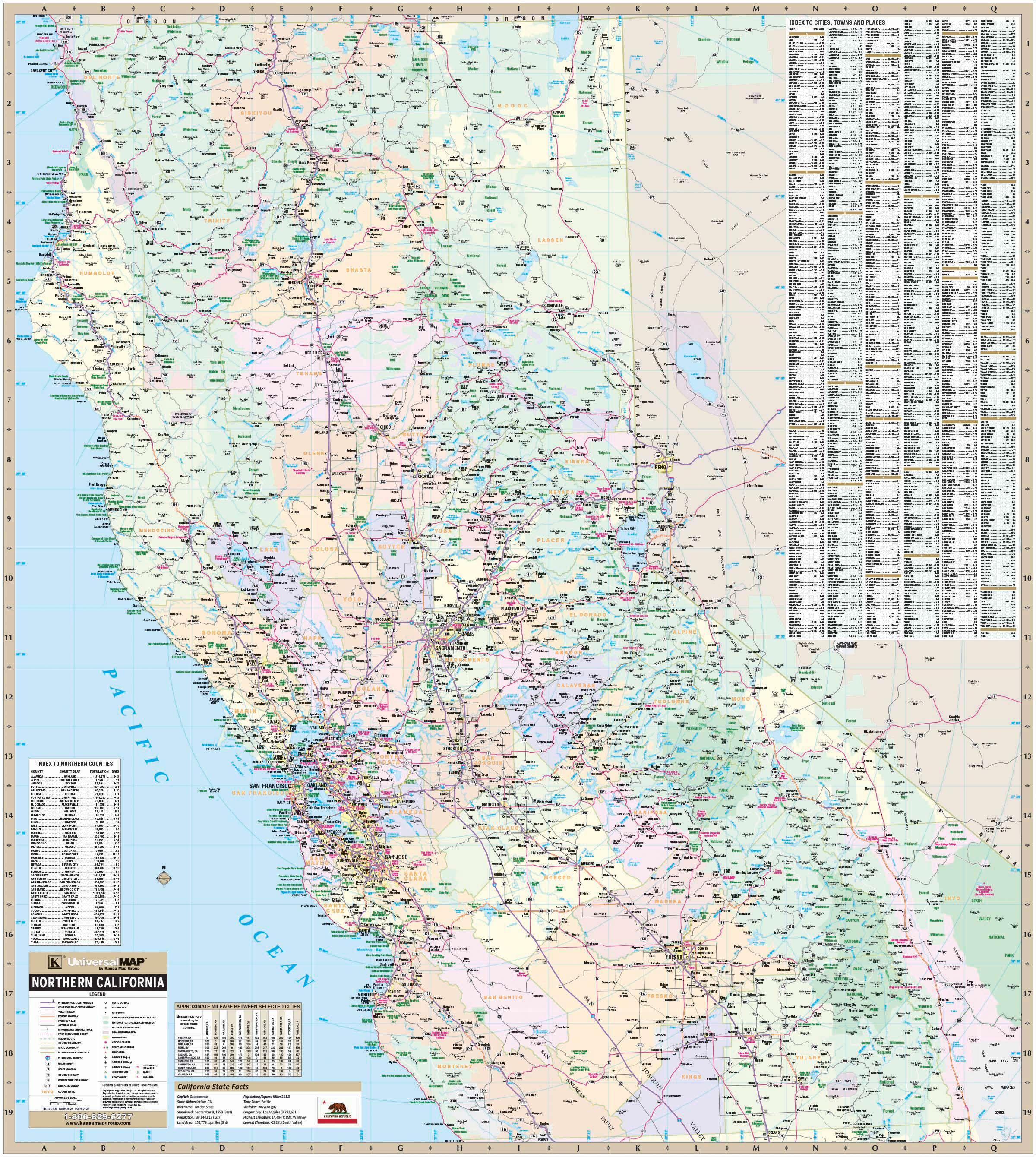 California State North Wall Map – Kappa Map Group - California Wall Map