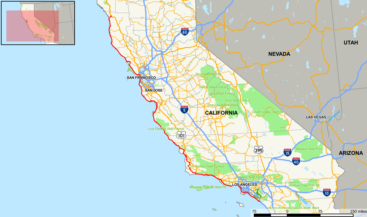 California State Route 1 - Wikipedia - Highway One California Map