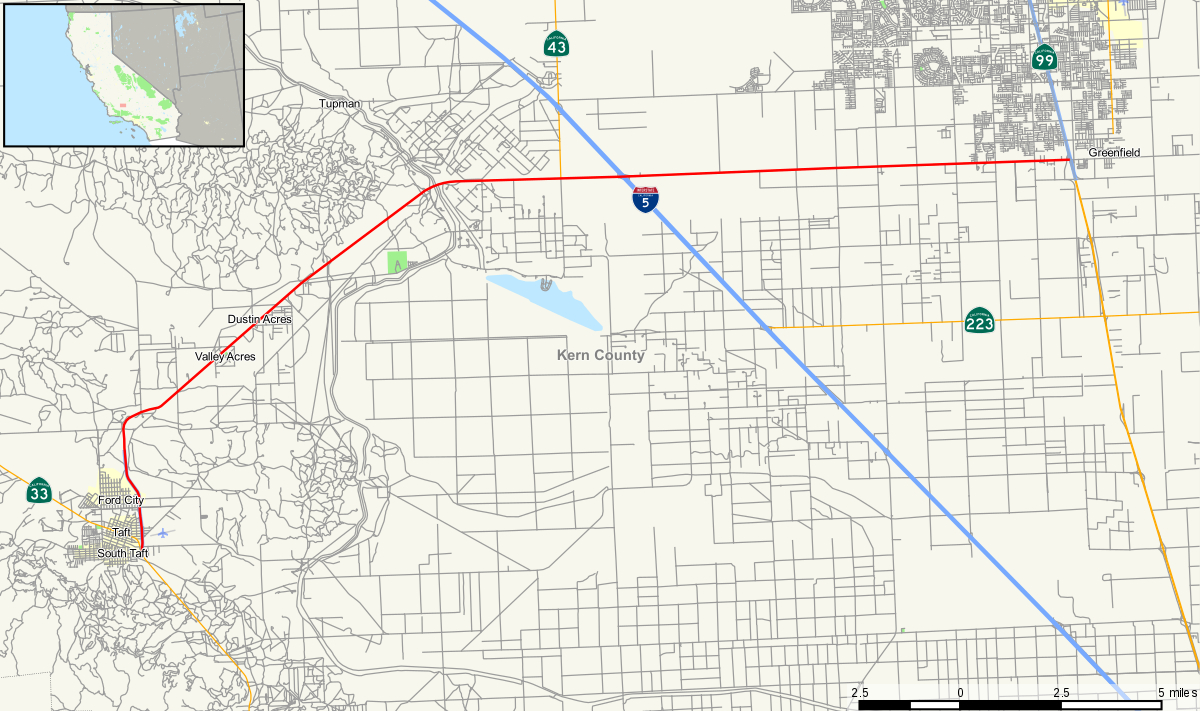 California State Route 119 - Wikipedia - Taft California Map