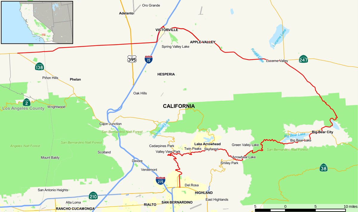 California State Route 18 - Wikipedia - Route 395 California Map