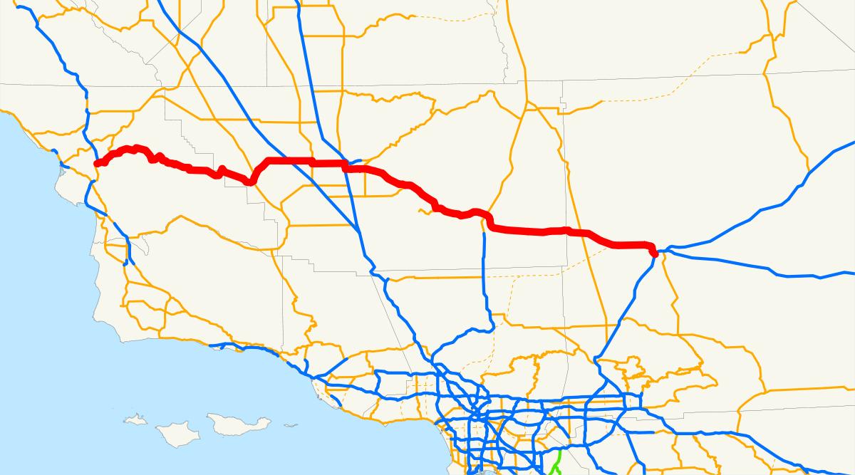 California State Route 58 - Wikipedia - Taft California Map