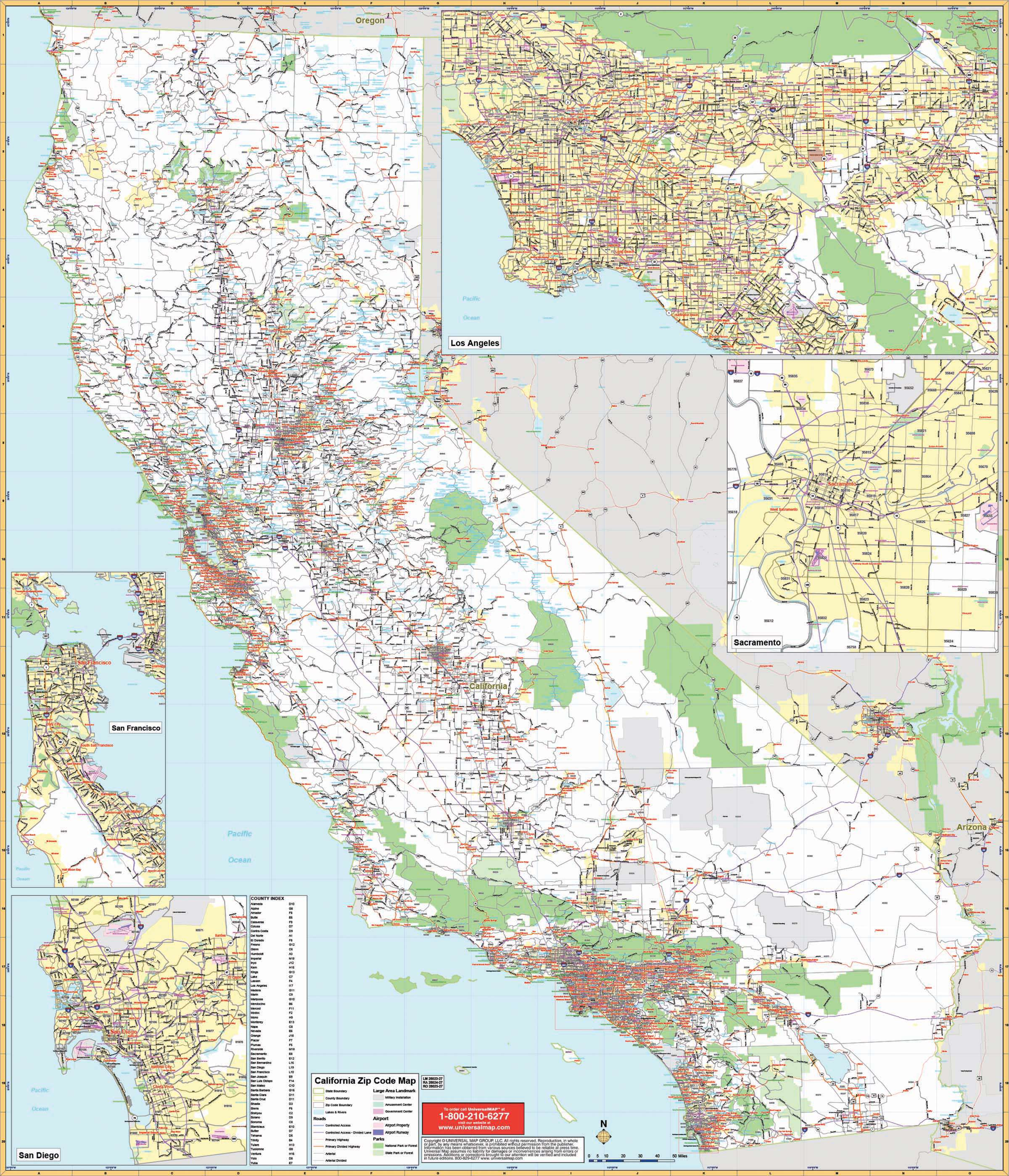 California State Wall Map W/ Zip Codes – Kappa Map Group - California Wall Map