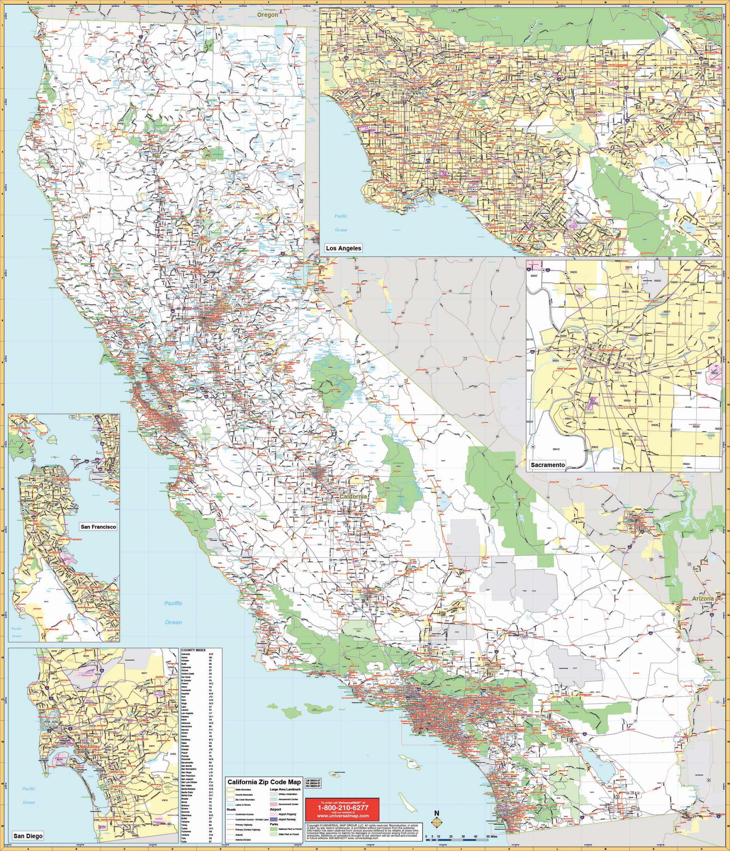 California State Wall Map W/ Zip Codes – Kappa Map Group - Large Wall Map Of California