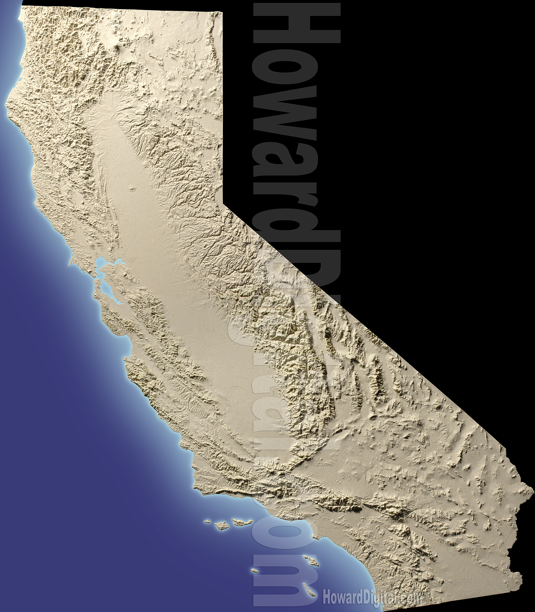 California Terrain Models - Terrain Model - Howard Models - California Terrain Map