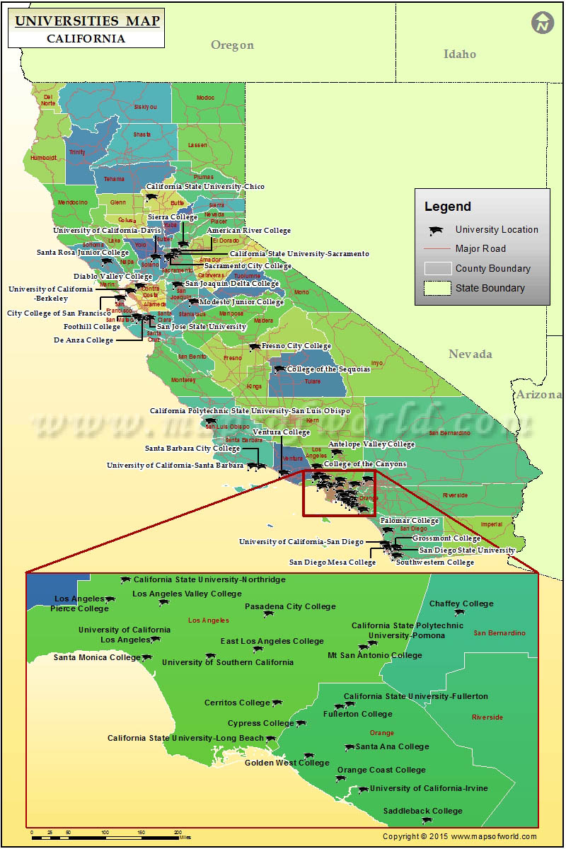 California Universities Map California Map With Cities Colleges In - Van Nuys California Map