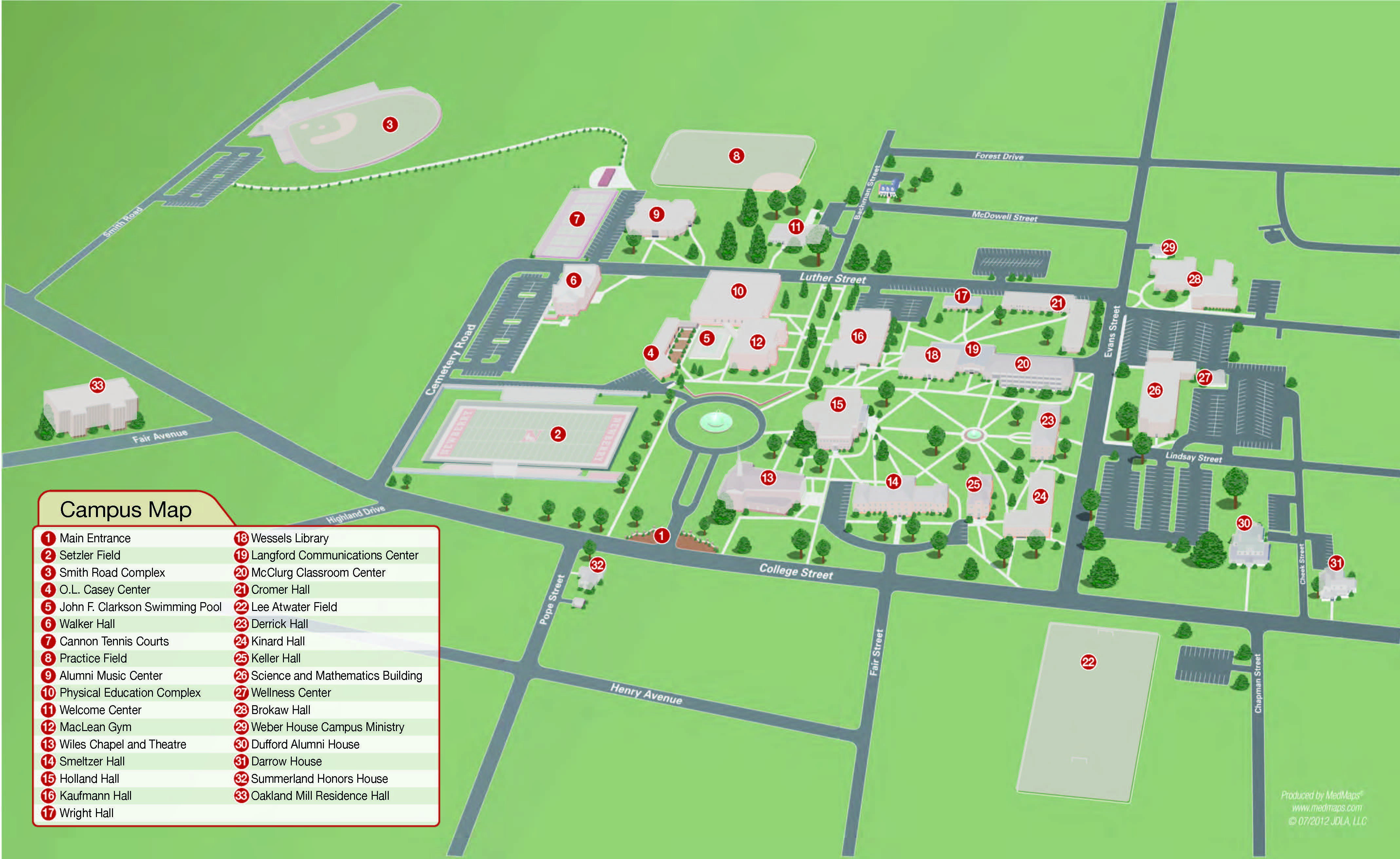 California University Of Pa Campus Map Printable Newberry College - California University Of Pa Campus Map